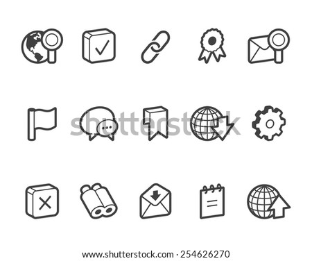 Outlined internet and website vector icons. File format is EPS8.