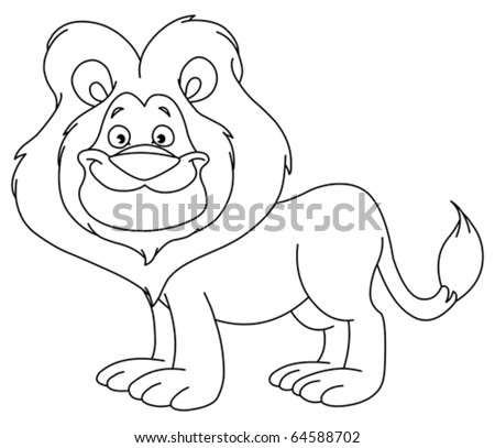 Outlined lion - stock vector