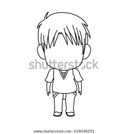 outlined little boy anime hair
