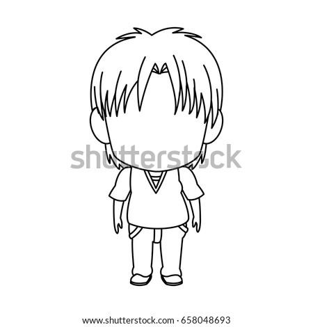 outlined little boy anime hair