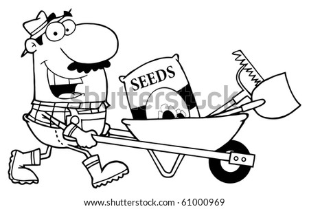 Outlined Male Landscaper Pushing Seeds, A Rake And Shovel In A Wheelbarrow