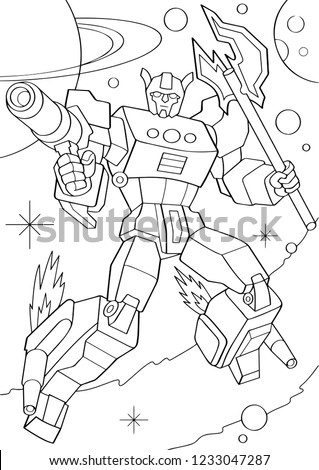 Outlined man in transformation armor isolated on white background. Vector illustration of protector robot in cosmos. Coloring book. Cyborg pose with weapons.