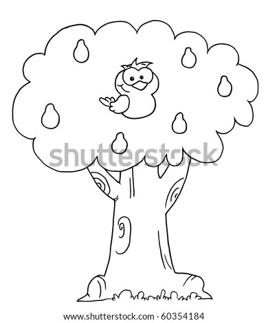 Outlined Partridge In A Pear Tree Stock Vector ...