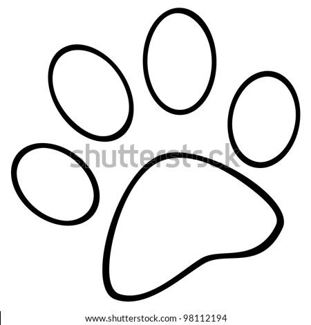 Outlined Paw Print. Vector Illustration