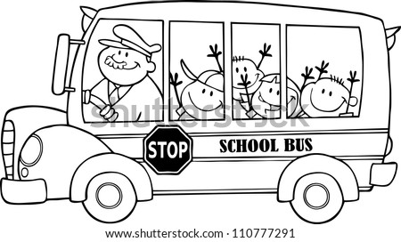 Outlined School Bus With Happy Children