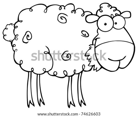 Outlined Sheep Cartoon Character Eating A Grass