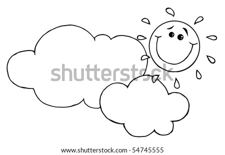 Outlined Smiling Sun Behind Cloud Cartoon Character