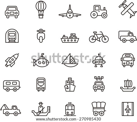 Outlined TRANSPORTS ICON SET in a white background