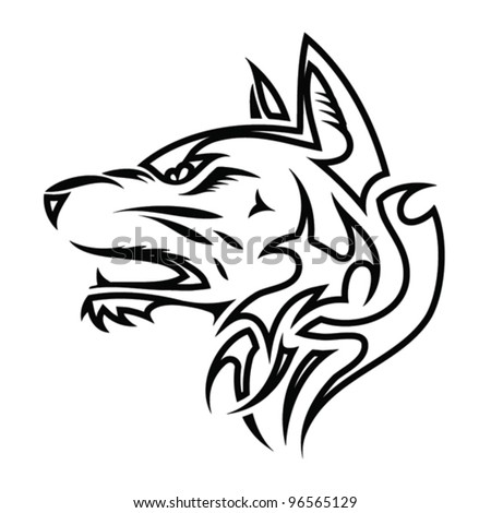 Outlined tribal wolf head - vector illustration