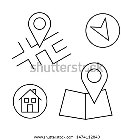 Outlined vector map and pointers. Vector illustration.