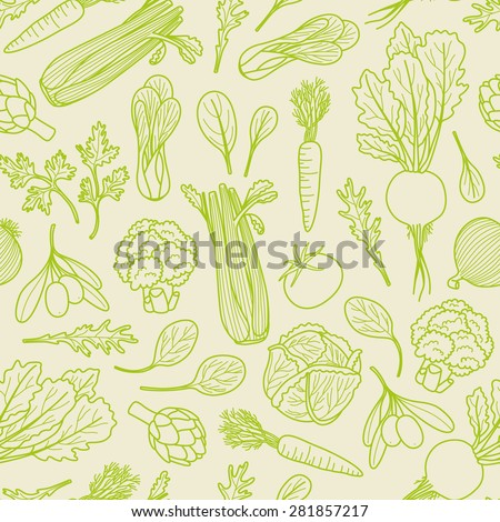 Outlined vegetables pattern