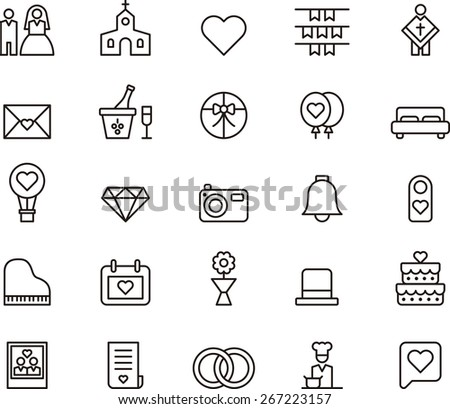 outlined wedding icons in white