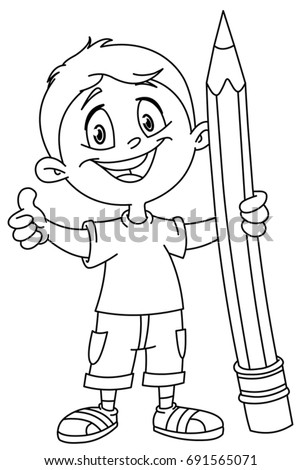 Outlined young boy holding a big pencil and showing thumb up. Vector illustration coloring page.