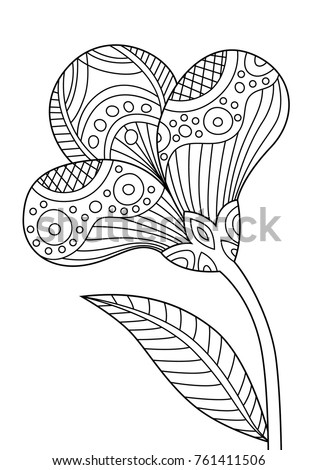 Outlined zentangle anti-stress coloring page beautiful flower. Coloring book page for adults and children
