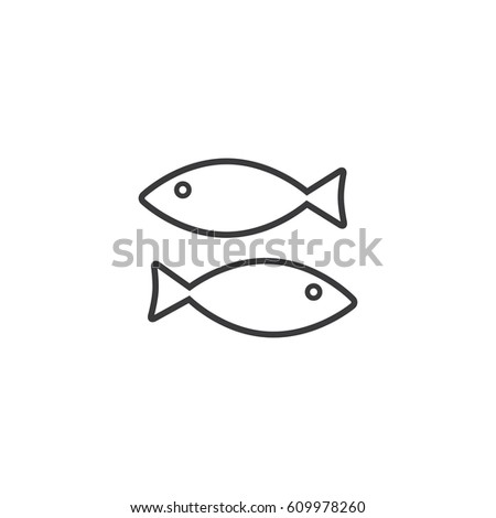 Outlines fish icon illustration on white background.