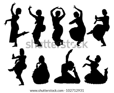 outlines nine Indian women dancing on a white background