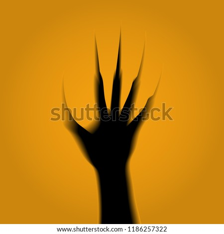 Outlines of a zombie's hand with claws from the grave carved on a pumpkin. The volume, 3D. Horror, fear, panic. Halloween. The black gap. 10 eps