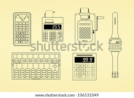 Outlines of calculators, watch, abacus and adding machine