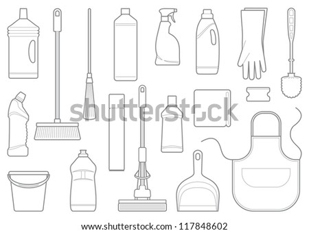 Outlines of cleaning equipment vector icons