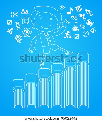 outlines of the figures cheerful child with books.  Concept of learning