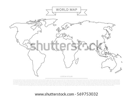 White outline world map vector download free vector art stock outlines world map isolated on white background editable stroke gumiabroncs Images