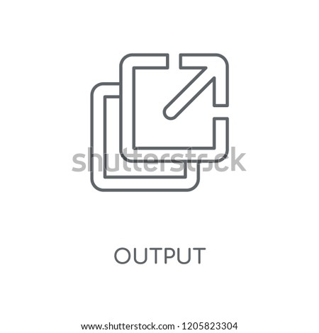 Output linear icon. Output concept stroke symbol design. Thin graphic elements vector illustration, outline pattern on a white background, eps 10.
