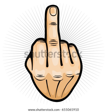Outrageous and contempt hand gesture vector illustration. Gesture finger hand middle sign