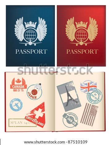 outside and inside pages of a red and blue passport with stamps, uses gradient mesh