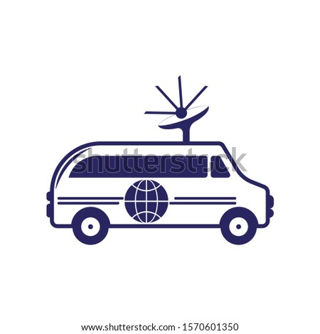 Outside broadcast van vector design. Truck with satellite dish antennas on roof. TV broadcasting car.