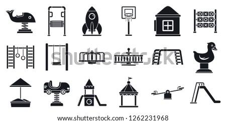 Outside kid playground area icon set. Simple set of outside kid playground area vector icons for web design on white background