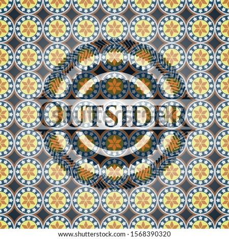 Outsider arabic emblem background. Arabesque decoration.