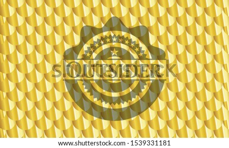 Outsider gold shiny emblem. Scales pattern. Vector Illustration. Detailed.
