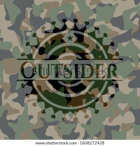Outsider on camo pattern. Vector Illustration. Detailed.