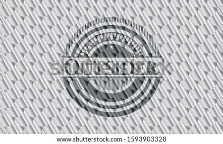 Outsider shiny silver badge. Scales pattern. Vector Illustration. Detailed.