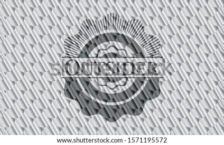 Outsider silver color emblem. Scales pattern. Vector Illustration. Detailed.
