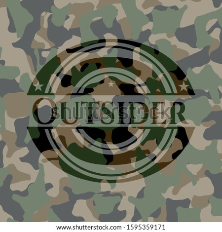Outsider written on a camo texture. Vector Illustration. Detailed.