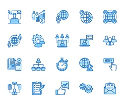 Outsource flat line icons set. Recruitment, partnership, teamwork, freelancer, part and full-time job vector illustrations. Outline pictogram for business. Pixel perfect 64px x 5. Editable Strokes.