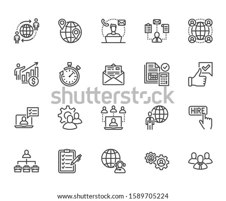 Outsource flat line icons set. Recruitment, partnership, teamwork, freelancer, part and full-time job vector illustrations. Outline pictogram for business. Pixel perfect. Editable Strokes.