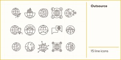Outsource line icon set. World, team, businessman, handshake. Business concept. Can be used for topics like worldwide corporation, networking distance work