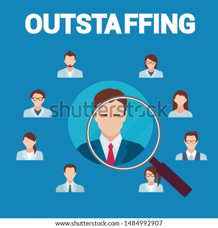 Outstaffing Banner Flat Cartoon Vector Illustration. Open Vacancy. Recruitment Agency. Outsourcing Candidates, Applicants Searching for Job Opportunities. Magnifying Glass on Applicant.