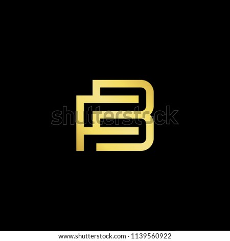 Outstanding professional elegant trendy awesome artistic black and gold color FB BF initial based Alphabet icon logo. Stock fotó ©