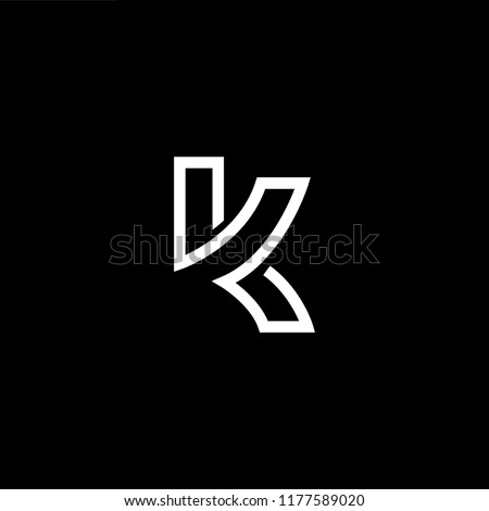 Outstanding professional elegant trendy awesome artistic black and gold color K KK initial based Alphabet icon logo. Stock fotó ©