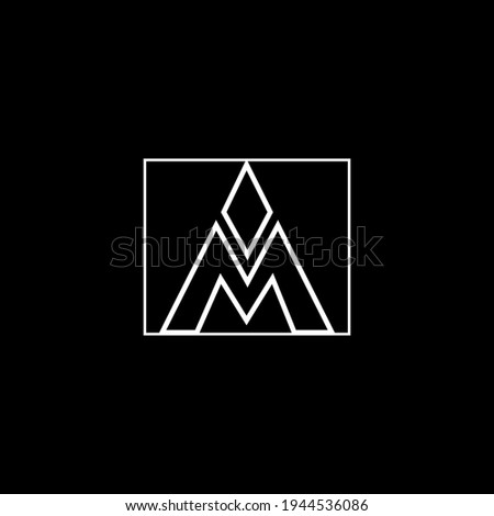 Outstanding professional elegant trendy awesome artistic black and white color AM MA initial based Alphabet icon logo. Stock fotó ©