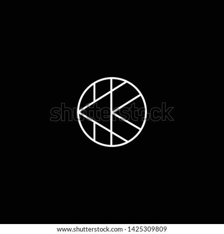 Outstanding professional elegant trendy awesome artistic black and white color K KK OK KO initial based Alphabet icon logo. Zdjęcia stock ©
