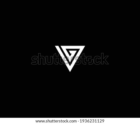 Outstanding professional elegant trendy awesome artistic black and white color VG GV initial based Alphabet icon logo. Stok fotoğraf ©