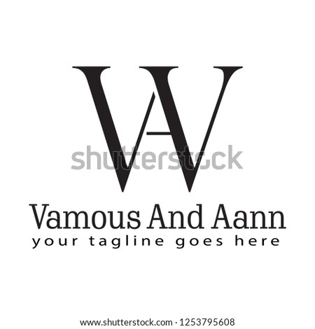 Outstanding professional elegant trendy awesome artistic black and white color WA AW initial based Alphabet icon logo.