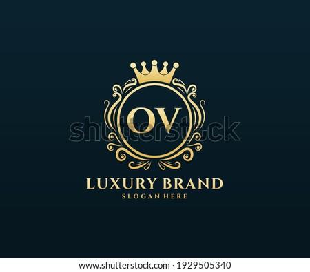 OV Initial Letter, Gold text with feminine floral hand drawn heraldic monogram, Antique vintage style luxury logo design. Stock fotó ©