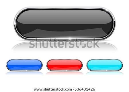 Oval button with metal frame. Vector illustration isolated on white background.