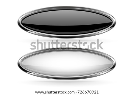 Oval buttons with bold chrome frame. 3d shiny icon. Vector illustration isolated on white background