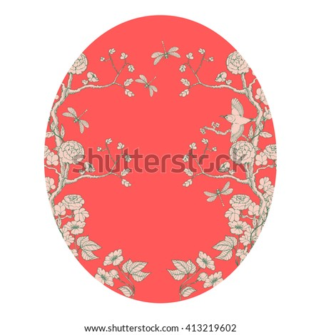 oval card in chinoiserie style